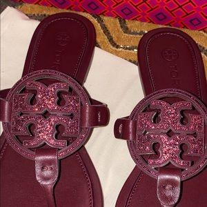 Nwt Tory Burch Miller Embellished Sandal BURGUNDY